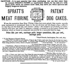 Reklama za Sprattove piškotke, s poudarkom, da naj kupci poiščejo take, ki imajo značilen X znak, njihov prepoznavni simbol. Čas reklame: okoli leta 1870. Vir fotke: en.wikipedia.org