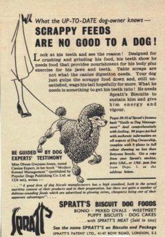 V 50-ih letih prejšnjega stoletja se je javno oglaševalo, da ostanki od kosila niso več primerna hrana za pse in da je pse treba hraniti samo s hrano za pse. Vir fotke: http://www.vintage-adverts.com